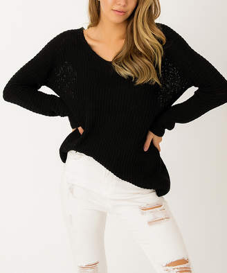 Angele Mode Women's Pullover Sweaters Black - Black V-Neck Dolman Sweater - Women