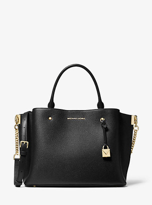 MICHAEL Michael Kors MK Arielle Large Pebbled Leather Satchel - Black - Michael Kors