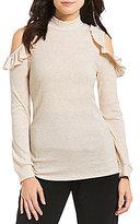 Takara Ruffled Cold-Shoulder Knit Top
