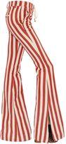 Roberto Cavalli Striped Hemp & Cotton Twill Flared Pants