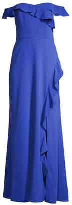 BCBGMAXAZRIA Ruffled Off-The-Shoulder Gown