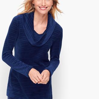 Talbots Luxe Velour Textured Stripe Pullover