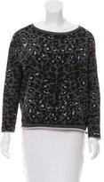 Maje Leopard Print Long Sleeve Sweatshirt