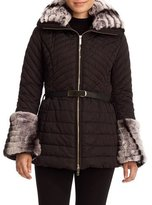 Gorski Aprés-Ski Rabbit-Trim Belted Jacket, Black