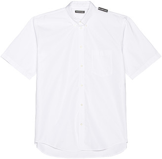 Balenciaga Short Sleeve Tab Shirt in White | FWRD