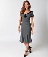 Stop Staring Exclusive 1930s Dark Grey & Black Dot Railene Dress