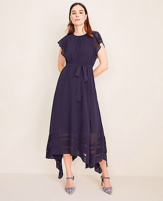 Ann Taylor Pleated Handkerchief Hem Midi Dress