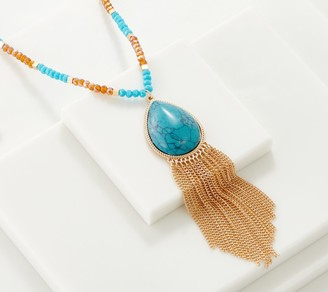 """Joan Rivers Classics Collection Joan Rivers 34"""" Teardrop Stone Necklace with Chain Fringe"""