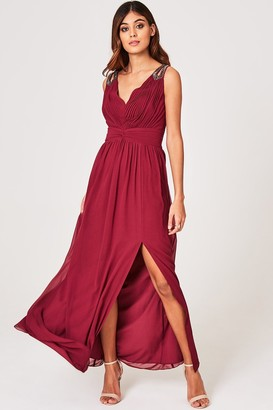Little Mistress Nelle Dusty Wine Embellished Strap Maxi Dress