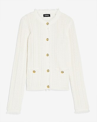 Express Button-Up Fringe Neck Sweater