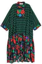 H&M Wide-cut Silk Dress - Black/green - Ladies
