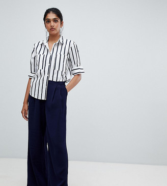 Y.A.S Tall Textured Wide Leg Trouser-Navy