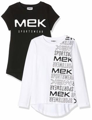 MEK Baby Girls T-Shirt Jersey 2 PEZZI Logo Long Sleeve Top