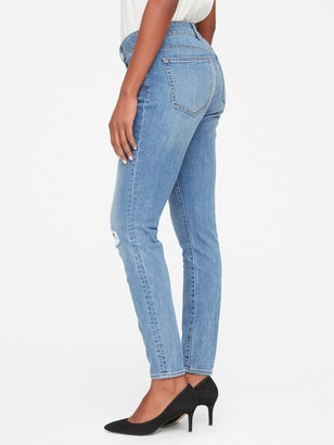 Gap Mid Rise Curvy True Skinny Jeans with Distressed Detail