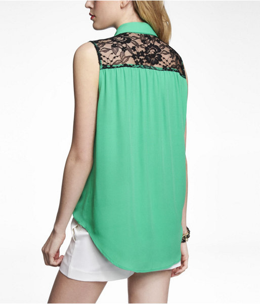 Express Sleeveless Lace Yoke Blouse