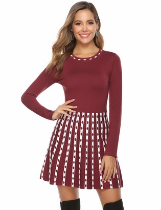 Hawiton Women's Jumper Dress Long Sleeve A Line Bodycon Knitted Dress Sweater Dress Winter Dress Long Sweater for Leisure Parties Office