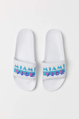 H&M Pool Shoes with Printed Design - White