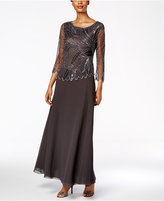 J Kara Embellished Beaded A-Line Gown