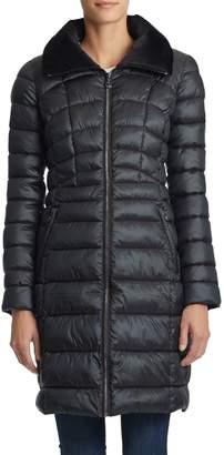 Bernardo Velvet-Trimmed Walker Coat