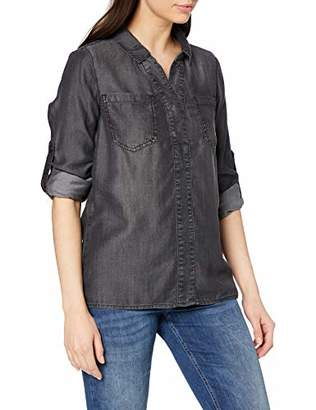 Street One Women's Denim Black Tencel Washed Shirt, Grau (Authentic Grey Washed 111), UK