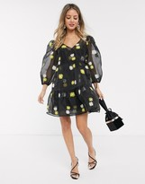 Asos Design DESIGN daisy embroidered organza tiered wrap smock dress in black