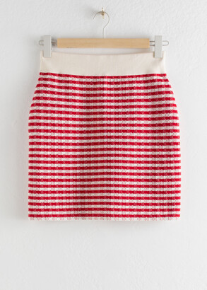 And other stories Striped Cotton Blend Mini Skirt