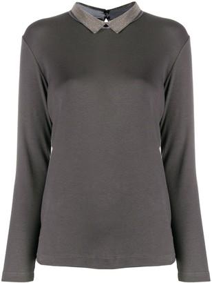 Fabiana Filippi studded collar long-sleeved T-shirt