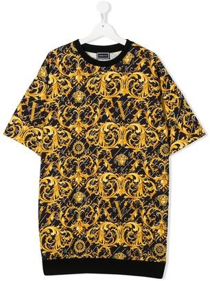 Versace TEEN baroque-print T-shirt dress