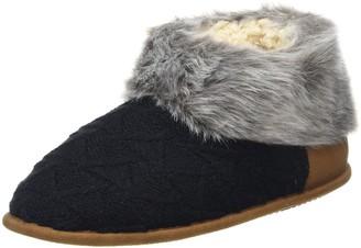 Dearfoams Women's Textured Knitted Bootie w/Pile Cuff Hi-Top Slippers