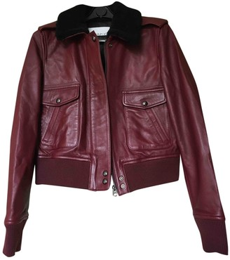 Calvin Klein Burgundy Leather Leather Jacket for Women
