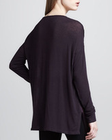 Vince Loose Mix-Fabric Top, Mulberry