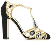 Dolce & Gabbana embellished t-bar sandals - women - Leather/Swarovski Crystal/Satin - 36