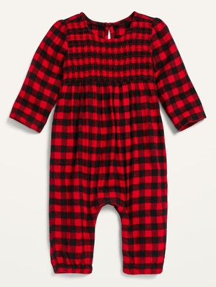 Old Navy Cozy Buffalo Plaid Flannel Smocked-Yoke One-Piece for Baby