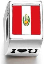 Soufeel 925 Sterling Peru Flag Photo I Love U European Charms Fit European Bracelets