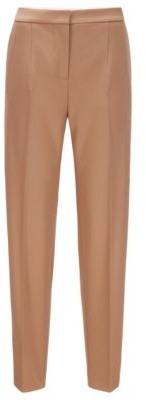 HUGO BOSS Relaxed Fit Pants In Stretch Virgin Wool Twill - Light Brown