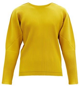Homme Plissé Issey Miyake Brushstroke-print Pleated-jersey T-shirt - Yellow