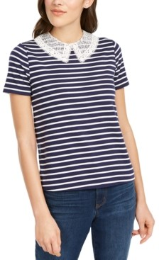 Maison Jules Striped Lace-Collar Top, Created for Macy's