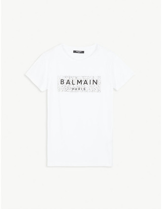 Balmain Crystal-embellished logo print cotton T-shirt 6-16 years