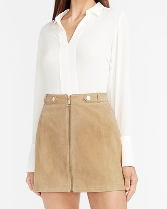 Express High Waisted Genuine Suede Mini Skirt