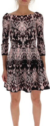 Alexander McQueen Off-Shoulder Printed Skater Dress