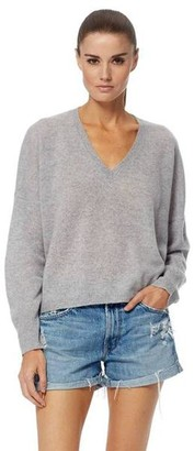 360 Cashmere Marina Grey V Neck Knit - Medium