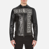 Versace Collection Printed Leather Jacket Black