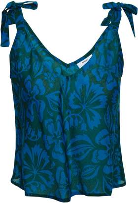 Mikoh Bow-detailed Printed Cotton And Silk-blend Top