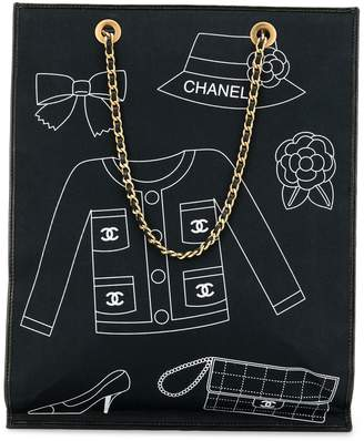 Chanel Pre-Owned icons print chain tote