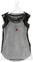 MonnaLisa layered mesh embroidered tank