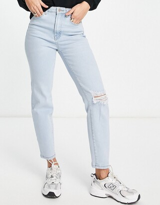 Stradivarius slim mom jeans with rips in blue wash