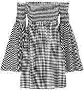 Caroline Constas Appolonia Off-the-shoulder Shirred Gingham Cotton Mini Dress