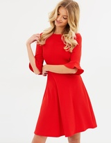 Dorothy Perkins Flute Sleeve Fit And Flare Dress