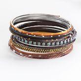 Mudd ® two tone beaded bangle bracelet set