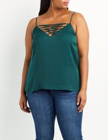 Charlotte Russe Plus Size Lattice Lace-Up Tank Top